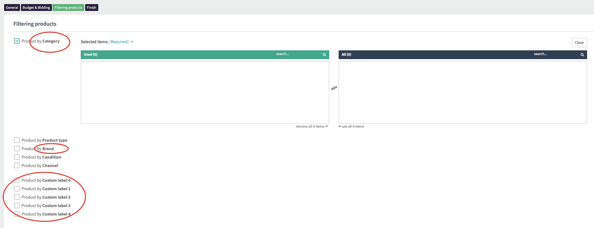 Inteligentné Google Nákupy filtrovanie produktov