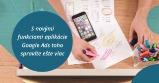 Aplikácia Google Ads, pracovný stôl s telefónom a poznámkami