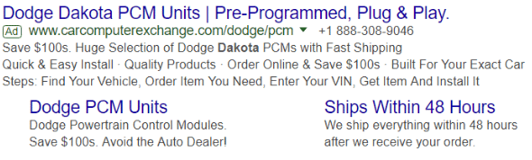 Nice example of Google text ad