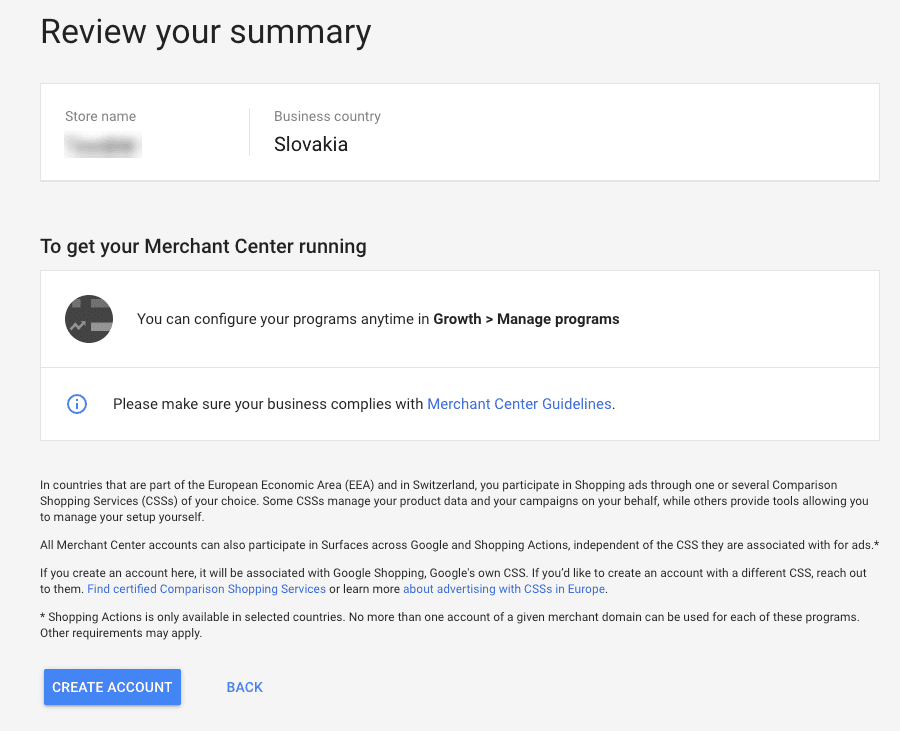 Merchant Center Review Your Summary